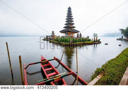 Pura Ulun Danu Bratan At Mist, Temple On The Lake, Bedugul, Bali, Indonesia