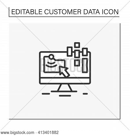 Collect Data Online Line Icon. Data Compiling, Account Information Gathering. Online Banking Company