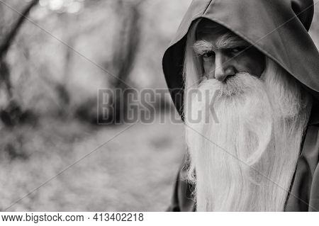 A Wizard With A Long Gray Beard And A Cloak In A Deep Forest. An Elderly Man In A Witcher Costume. M