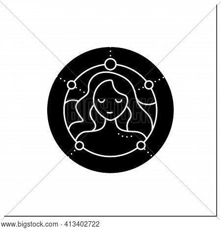 Virgo Glyph Icon. Sixth Fire Sign In Zodiac. Female Woman Birth Symbol. Mystic Horoscope Sign. Astro