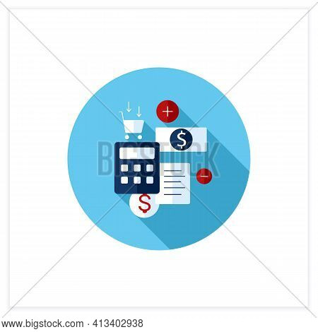 Budgeting Flat Icon. Creating Plan To Spend Money. Rational Money Distribution.cash Counting. Though