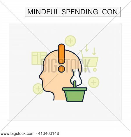 Conscious Consumer Color Icon. Thoughtful Shopping. Thoughtful Spending Money. Buying Necessary Thin