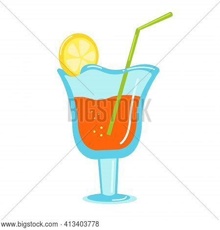 Bright Summer Cocktail In A Glass Wine Glass With A Beautiful Slice Of Lemon, Beach Cocktail With A