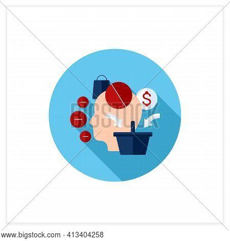 Mindless Spending Flat Icon. Rash Spending Money.unplanned Purchase. Mindful Spending Concept.vector