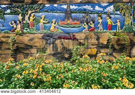 Bas-relief In Temple Complex Pura Ulun Danu Beratan, Or Pura Bratan, A Major Hindu Shaivite Shiva Te