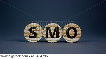 Smo, Social Media Optimization Symbol. Wooden Circles With Word 'smo - Social Media Optimization' On