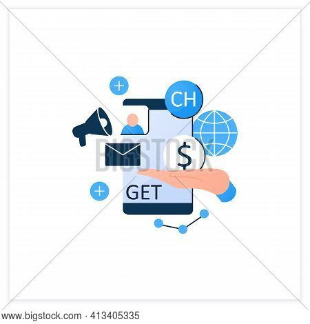 Chat Invite Buy Flat Icon. Shares Purchase.communication Application With Friends.invitation Link. I