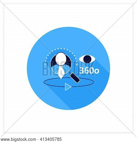 360-degree Customer View Flat Icon.all Client Data In One Place. Interactions With Customer Service,