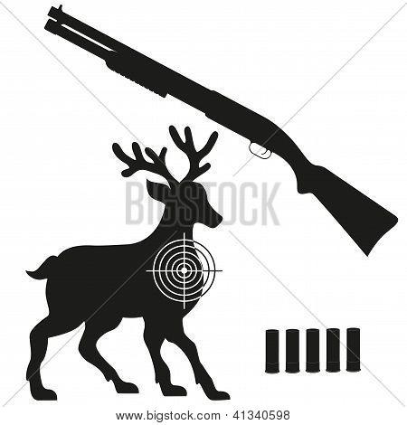 Shotgun And Aim On A Deer Black Silhouette Vector Illustration