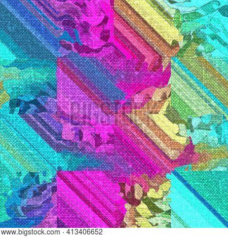 Rainbow Boho Tie Dye Mottled Linen Texture Background. Seamless Tropical Vibrant 80s Style Fabric Ef