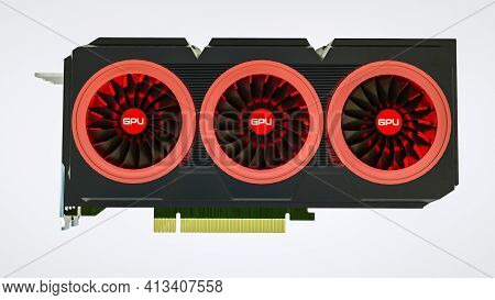 Three-dimensional Model Of A Video Card On A White Background. Gpu Adapter. 3D Render Illustration