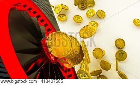 Gold Coins With Bitcoin Symbol Are Pouring Out Of A 3D Model Of A Video Card On A White Background.