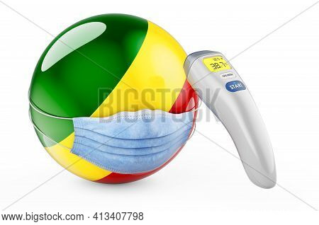 Congo Flag With Medical Mask And Infrared Electronic Thermometer. Pandemic In Congo Concept, 3d Rend