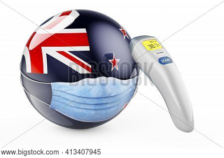 New Zealand Flag With Medical Mask And Infrared Electronic Thermometer. Pandemic In New Zealand Conc