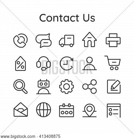 Contact Us Icon Collection For Web, Mobile App And Stories Highlights. Customer Service. Contact Sup