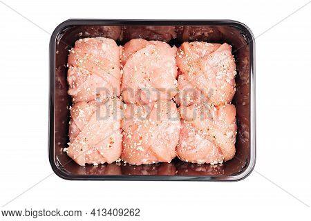 Fast Food.raw Hamburger , Meatballs In Black Plastick Tray Isolated On White Background.raw Hamburge