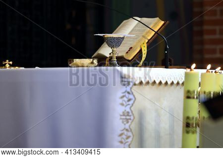 A Chalice And A Liturgical Book On The Altar Of A Historic Church In Gorzów Wielkopolski