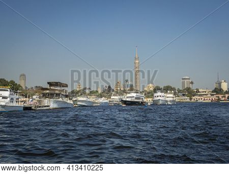 Cairo, Egypt, 5th January 2015 - Cairo Tower And Boats On The River Nile, Cairo, Egypt