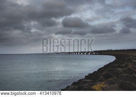 Great Belt Fixed Link (a Multi-element Link Crossing Great Belt) Strait Between The Danish Islands O