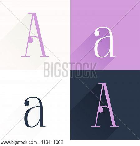 Letter A Condensed Serif Font Set. Perfect To Use In Elegant Branding, Luxury Logo, Wedding Invitati