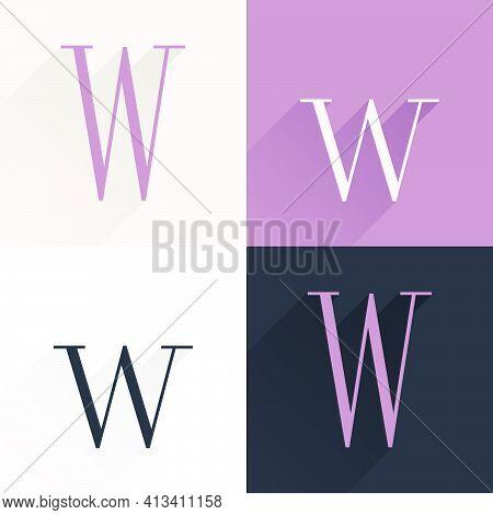 W Letter Condensed Serif Font Set. Perfect To Use In Elegant Branding, Luxury Logo, Wedding Invitati