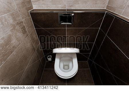 Ceramic Toilet Bowl With Toilet Seat (blurred In Motion), Chrome Wall Button And Toilet Brush In Res