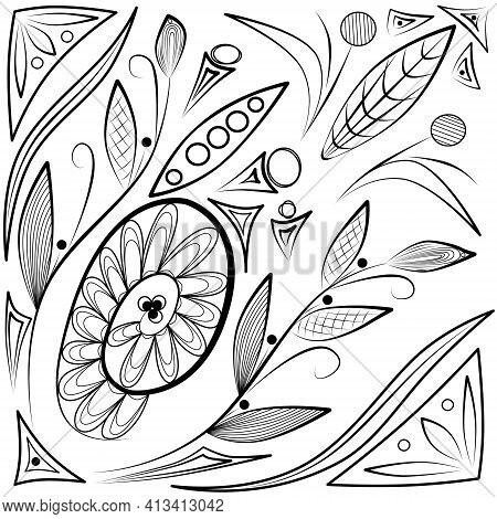 Detailed Abstract Antistress Illustration With Elements Plant, Coloring Book Page For Children And A