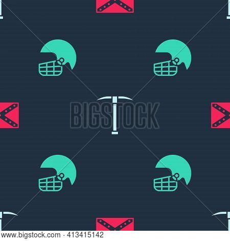 Set Flag Confederate, Pickaxe And American Football Helmet On Seamless Pattern. Vector