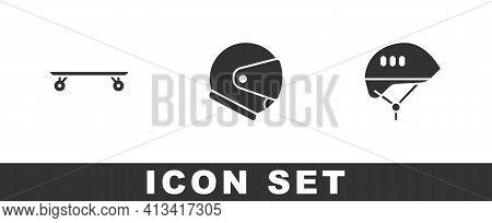 Set Longboard Or Skateboard, Helmet And Bicycle Helmet Icon. Vector
