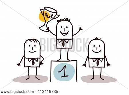 Hand Drawn Cartoon Business Men, The Winner One The Podium