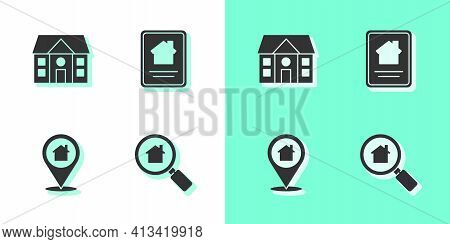 Set Search House, House, Location With And Online Real Estate Icon. Vector