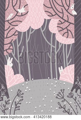 Magic Spring Forest Landscape. A Glade With Flowers In The Forest Surrounded By Pink Trees. Doodle S
