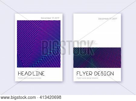 Minimal Cover Design Template Set. Neon Abstract L