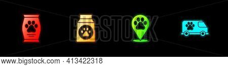 Set Bag Of Food, , Location Veterinary And Veterinary Ambulance Icon. Vector