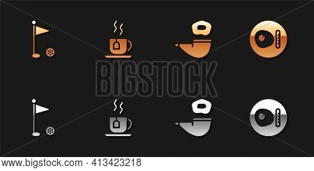 Set Golf Flag, Cup Of Tea With Tea Bag, Smoking Pipe And British Breakfast Icon. Vector