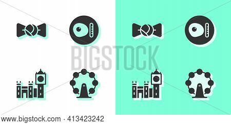 Set London Eye, Bow Tie, Big Ben Tower And British Breakfast Icon. Vector