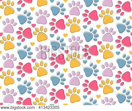 Seamless Pattern With Colorful Pets Paws. Cat Or Dog Footprint Outline Cute Childish Bright Backgrou