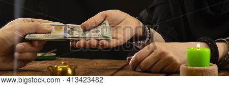 A Fortune Teller Or Oracle Takes Money For Their Work. Fortune Telling By Hand, Geromancy. Psychic R