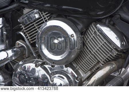 Shiny Chrome Plated Powerful V-shaped Motorcycle Engine, 2 Cylinders