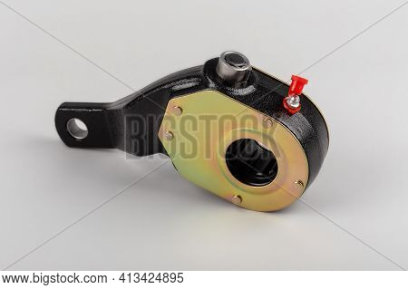 Slack Adjuster.brake Slack Adjuster On The Gray Background. Truck Parts. Car Parts. Parts On The Gra