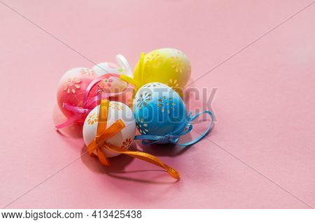 Easter Egg As Decoration. Decorated Easter Eggs On The Easter Table. The Background Is Bright.