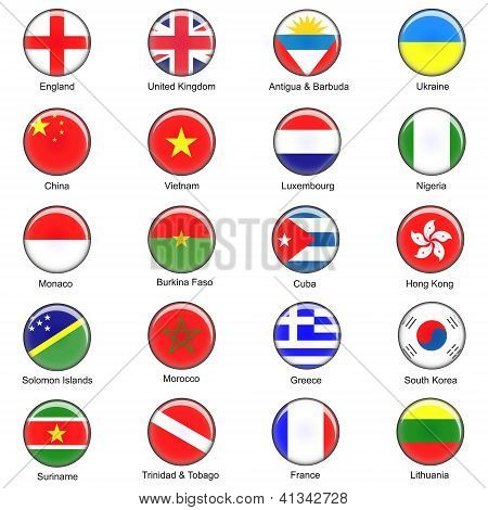 Vector World Flag Buttons - Pack 1 of 8