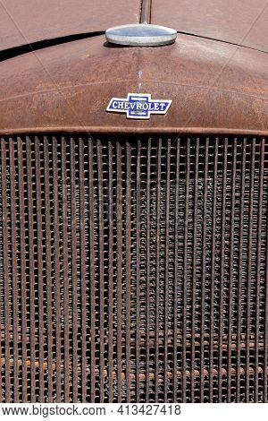 Maricopa, Arizona, February 26 2021: The Old Grill With A Logo Is A Chevrolet Product, Colloquially