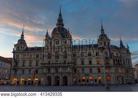 Graz, Austria-14.09.2020: The Rathaus (town Hall) Before Sunrise, In Graz, Styria Region, Austria. B