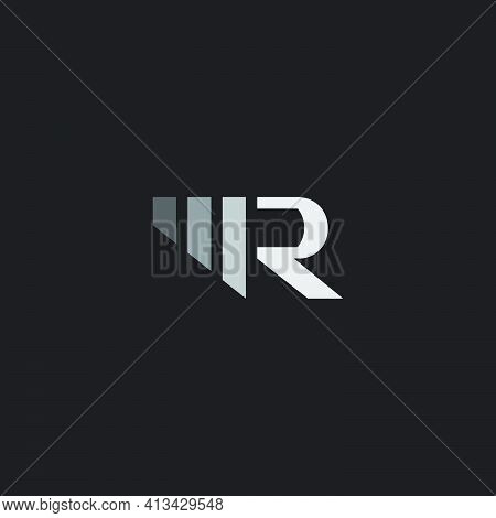 Letter M R Simple Gradient Geometric Stripe Logo Vector