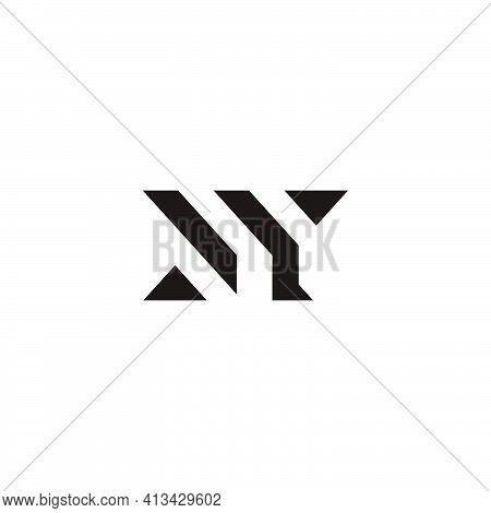 Letter Ny Geometric Lines Triangle Shape Logo Vector