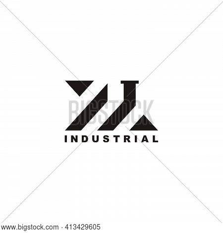 Abstract Geometric Roof Chimney Home Industrial Factory Symbol Logo Vector