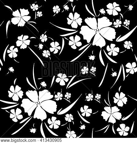 Monochrome Floral Seamless Pattern. Hand Drawn Silhouette Wild Flowers And Leaves Scattered Random O