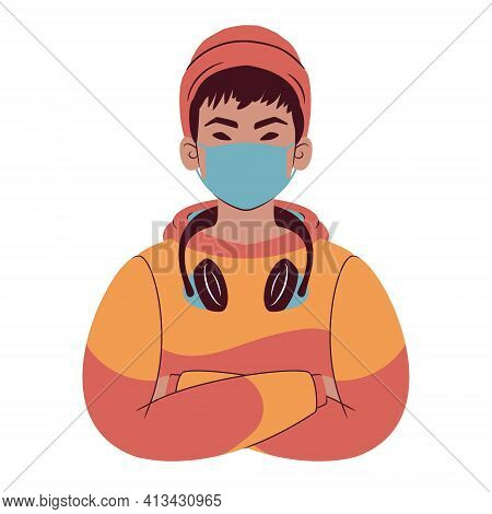 Young Man Portrait. Avatar Of An Asian Teenager In Hoodie Wearing A Beanie, Headphones And A Face Ma