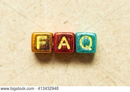 Metallic Color Alphabet Letter Block In Word Faq (abbreviation Of Frequently Asked Questions) On Woo